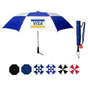 2 Section Wind Vented Automatic Open Golf Umbrella with cloth Sleeve (58