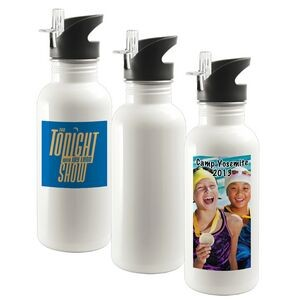 20 Oz. Stainless Steel Water Bottle w/ Straw Top (White)
